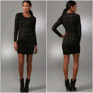 A.L.C. Lace overlay lined zip sleeve ruching dress